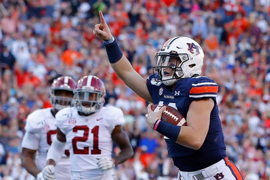 An+Auburn+player+celebrates+a+touchdown+during+the+Iron+Bowl.+Credit+The+Athletic